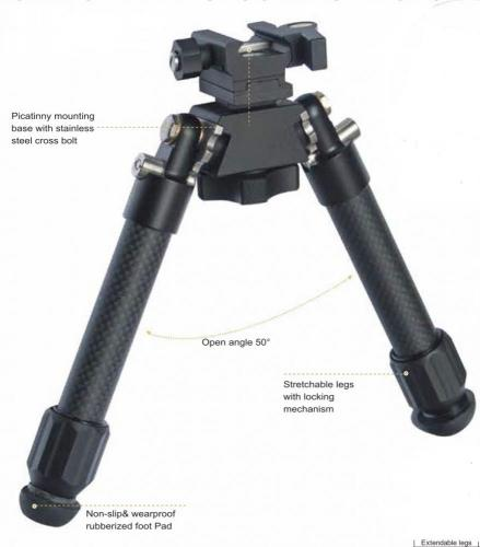 Carbon PSR Bidirectional Precision Bipod
